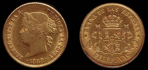 Gold 4 Peso coin of Queen Isabella II.