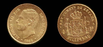 Gold 4 Peso coin of King Alfonso XII.