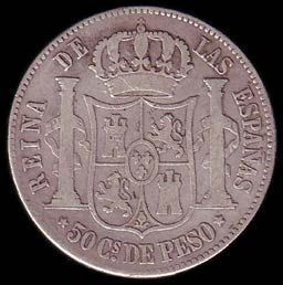 Reverse of Spanish-Philippines 50 Centavo Coin